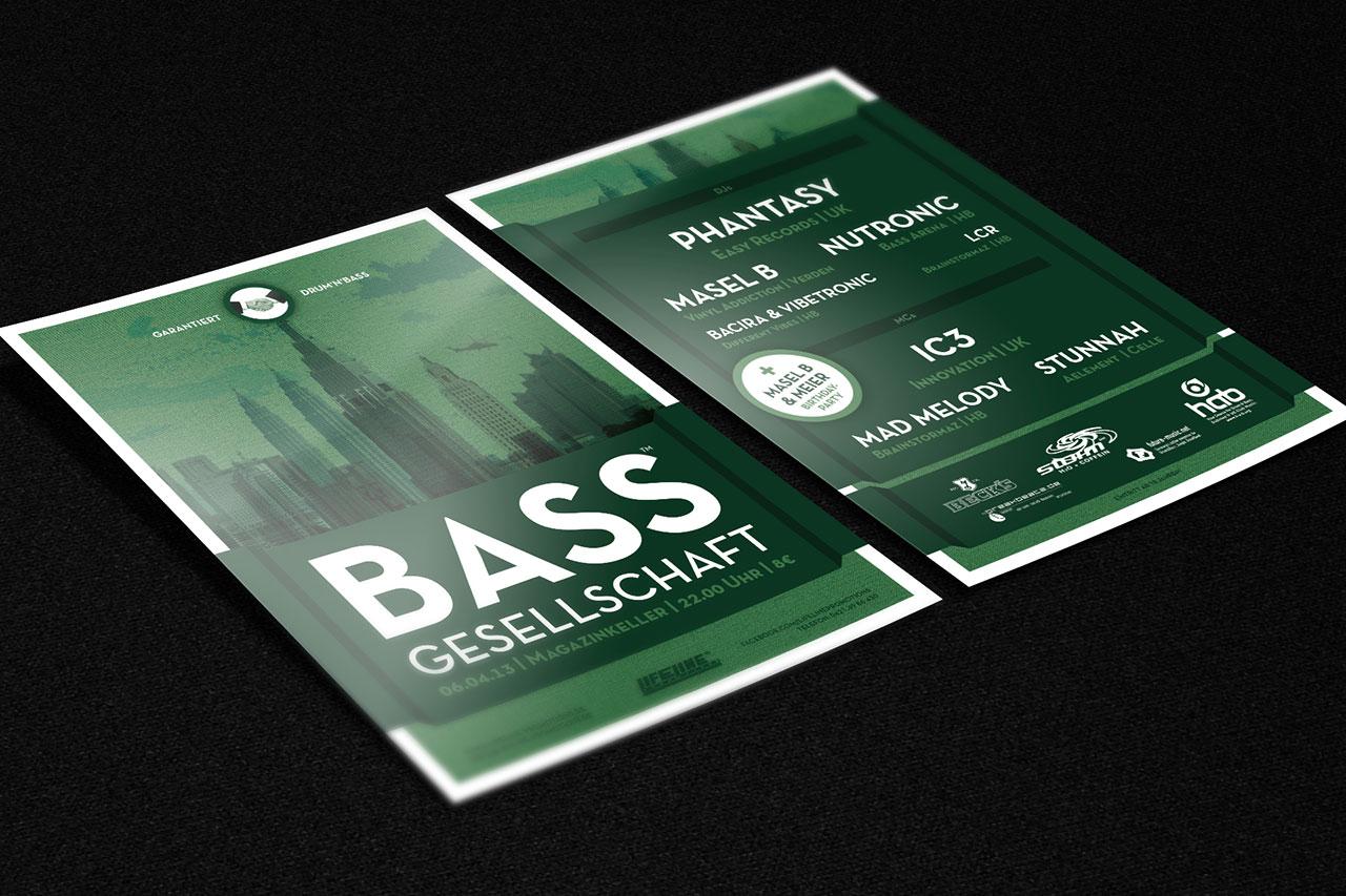 Flyergestaltung für die Party Bassgesellschaft