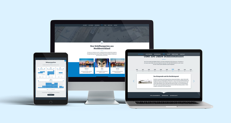 Website für die Elsflether Werft auf verschiedenen Endgeräten